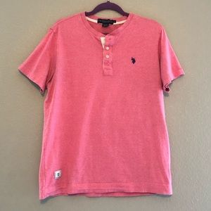 US Polo Assn. Pink Heathered Henley Tee